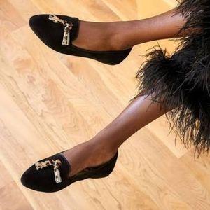 Birdies Sued Blackbird Cheetah Tassel Wool Footbed